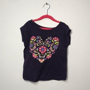 Girls navy flower heart tee!